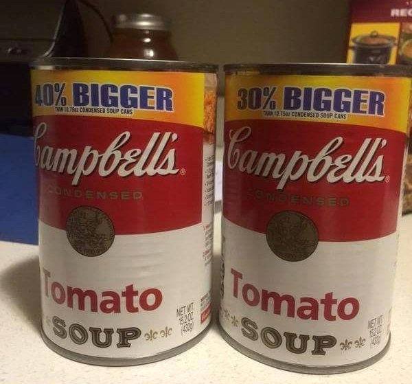 funny picture of campbells soup says 40% bigger lie