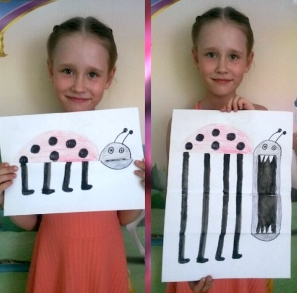 funny pic of little girl's creep lady bug drawing