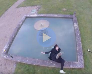 funny fail video of girl falls into fountain, drone fail video, girl fountain drone, drone fountian girl, drunk girl drone