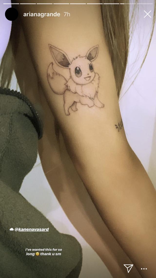 Ariana Grande Reveals New Eevee Pokemon Tattoo