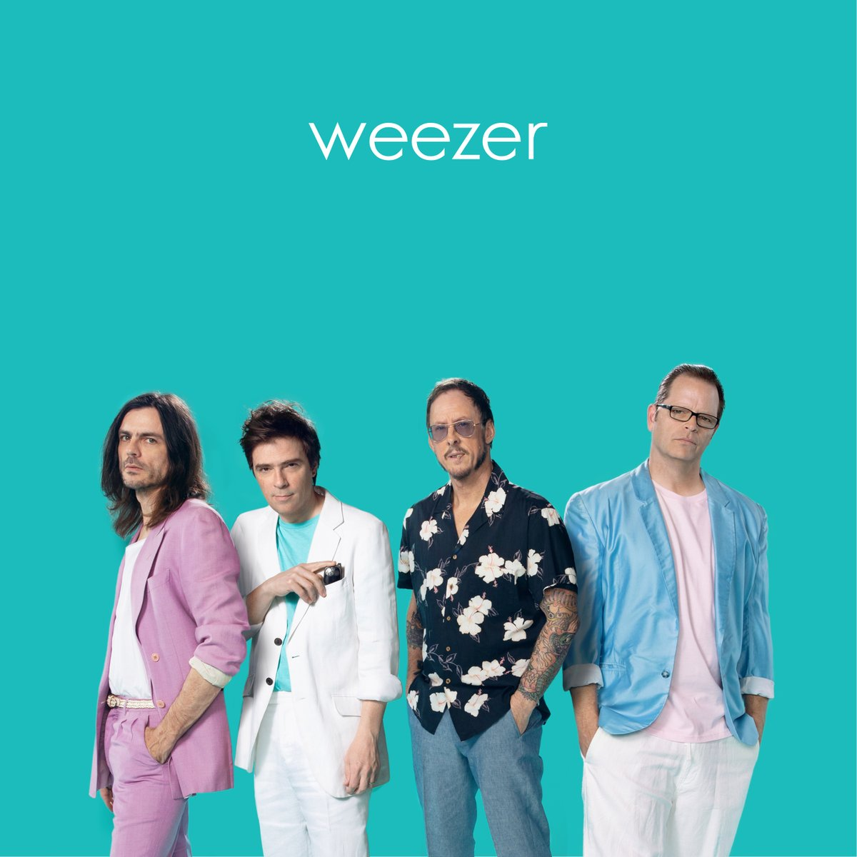 Weezer, Weezer new album, Weezer Teal Album, Teal Album, Weezer covers, covers by Weezer, Weezer 2019, song covers, Africa, Everybody Wants To Rule The World, Sweet Dreams (Are Made Of This), Take On Me, Happy Together, Paranoid, Mr. Blue Sky, No Scrubs, Billie Jean, Stand by Me, Weezer covers No Scrubs, Weezer covers TLC, TLC, No Scrubs covers, Twitter, Trending Tweets, Weezer plays No Scrubs,