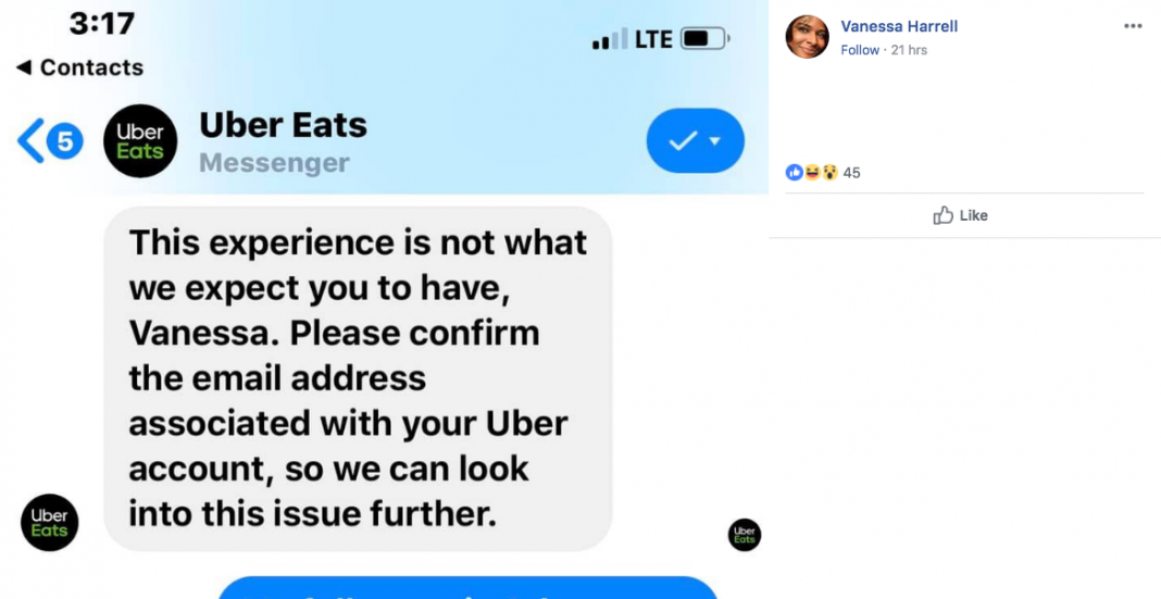 Woman's Post About Uber Eats Driver Eating Half Her Food Has