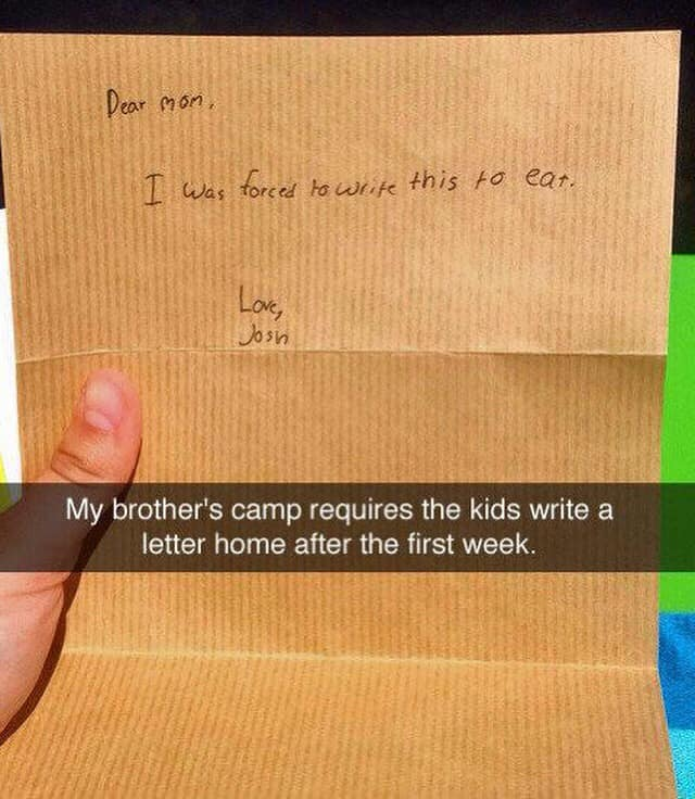 funny note home from camp picture, funny picture of note home from camp, funny note home, funny picture of note home, funny note from camp, funny picture
