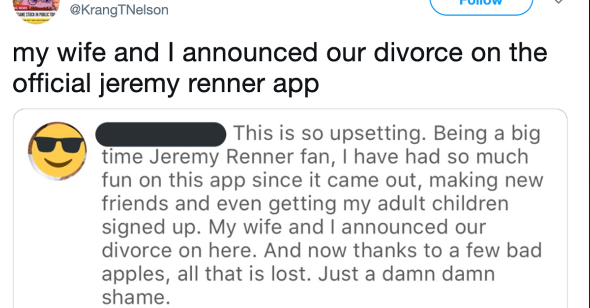 The Funniest Tweets About Jeremy Renner's Fan App Being ...