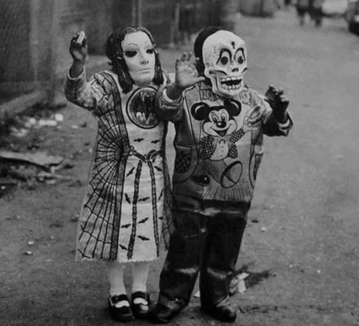 super creepy vintage children's halloween costumes, two terrifying children's vintage halloween costumes