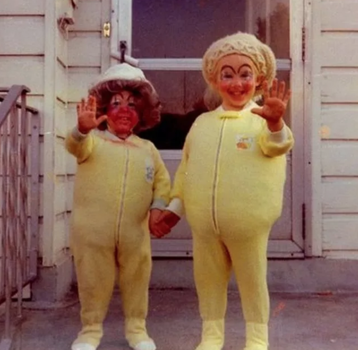 two yellow terrifying vintage halloween costumes, two children in creepy vintage halloween costumes, vintage halloween costumes, vintage halloween costume, creepy halloween costumes, creepy halloween costume, the creepiest halloween costumes, terrifying halloween costumes, creepiest costumes, vintage halloween pics, retro halloween dress, vintage halloween clothing, creepiest halloween costumes, vintage halloween pictures, retro halloween costume, most terrifying halloween costumes, most creepy halloween costumes, creepiest vintage costumes, creepy vintage costumes, creepy retro costumes, creepiest costumes, retro halloween pictures, vintage halloween picture, retro halloween picture, creepy halloween picture, creepy halloween pictures