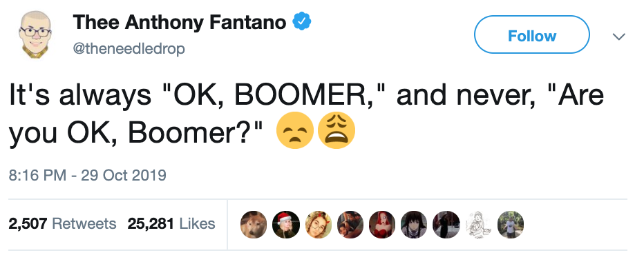ok boomer, what does ok boomer mean, meaning of ok boomer, boomer memes, ok boomer memes