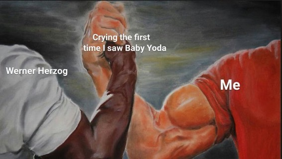 crying at baby yoda meme, wholesome baby yoda meme