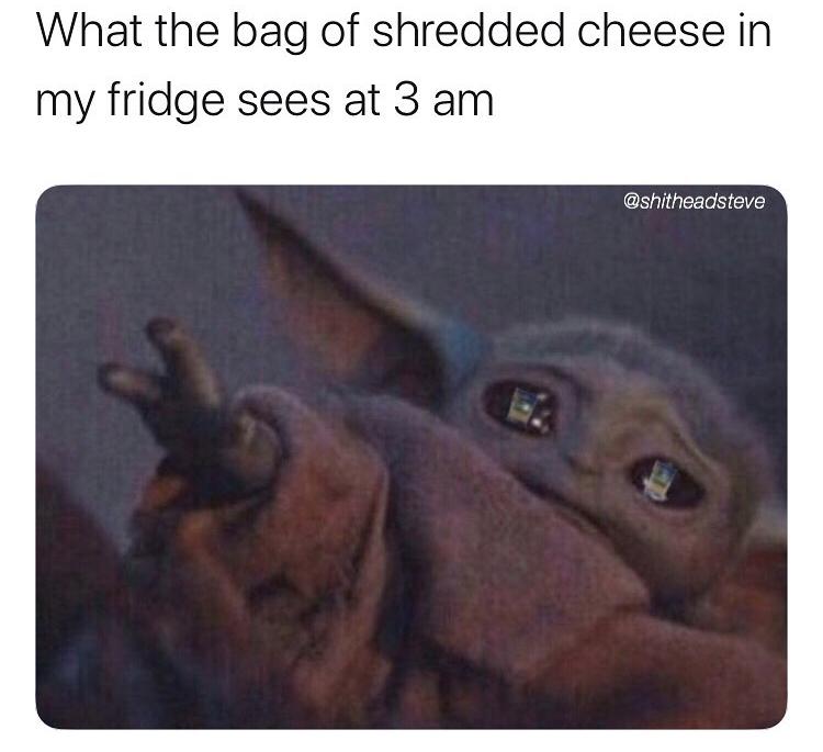 bag of shredded cheese baby yoda meme, funny shredded cheese baby yoda meme