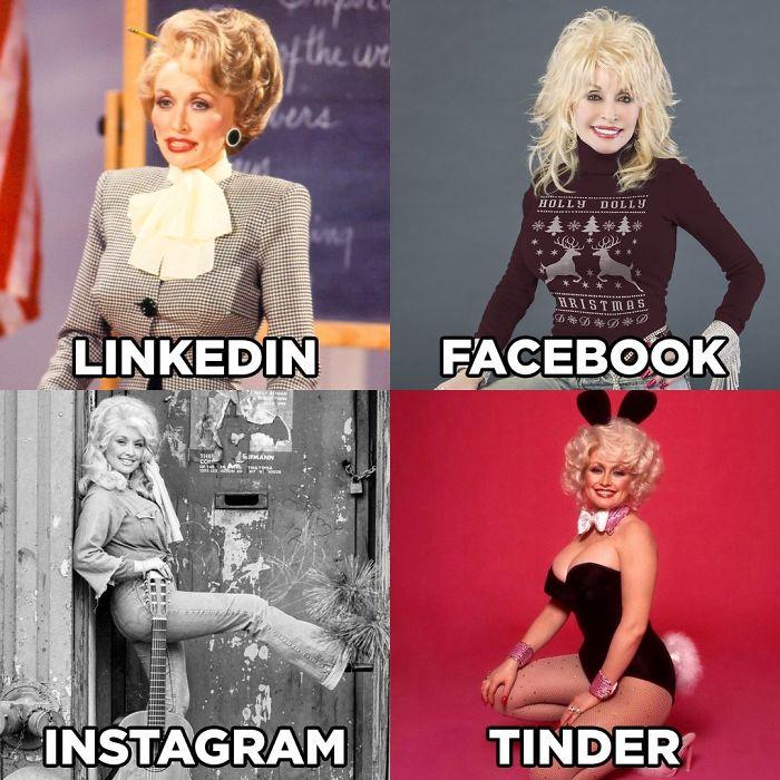 dolly parton challenge, dolly parton challenge meme, linkedin facebook instagram tinder meme