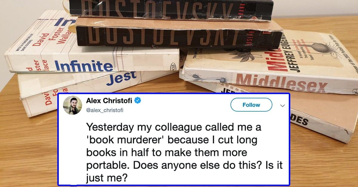 cut books in half, cutting books in half