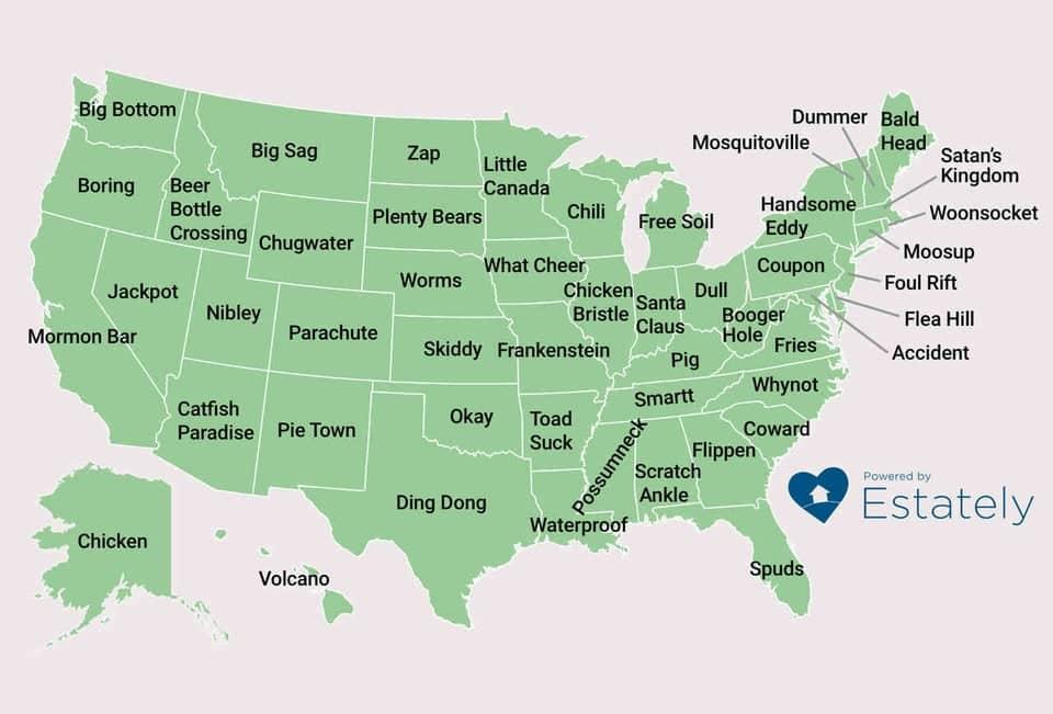 weird city names, weirdest city names, funniest town names, funny town names, funny city names, weird cities US,