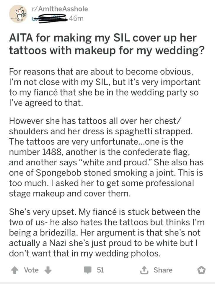 aita sil cover up tattoos wedding, aita cover up tattoos wedding