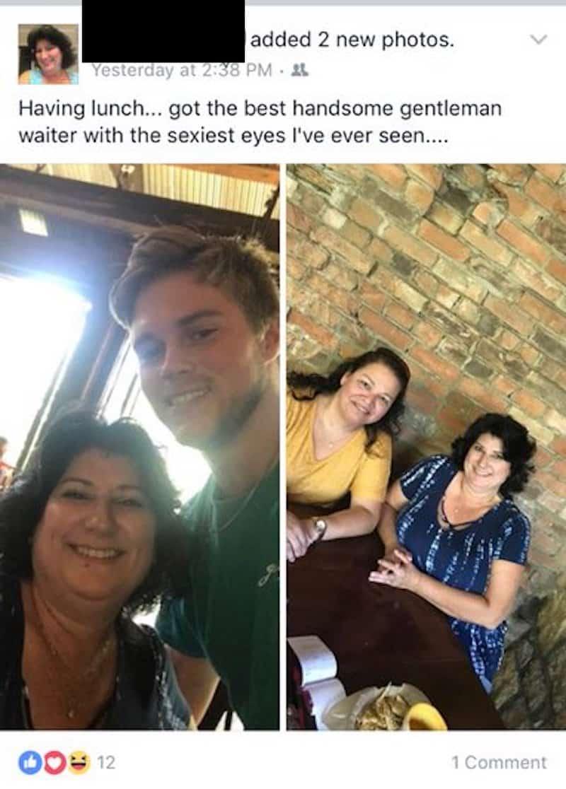 older woman harasses waiter