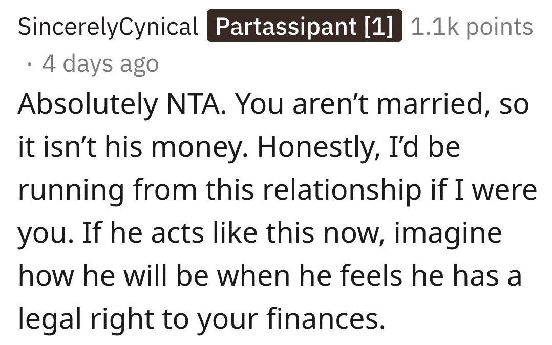 aita inheritance split rent with boyfriend