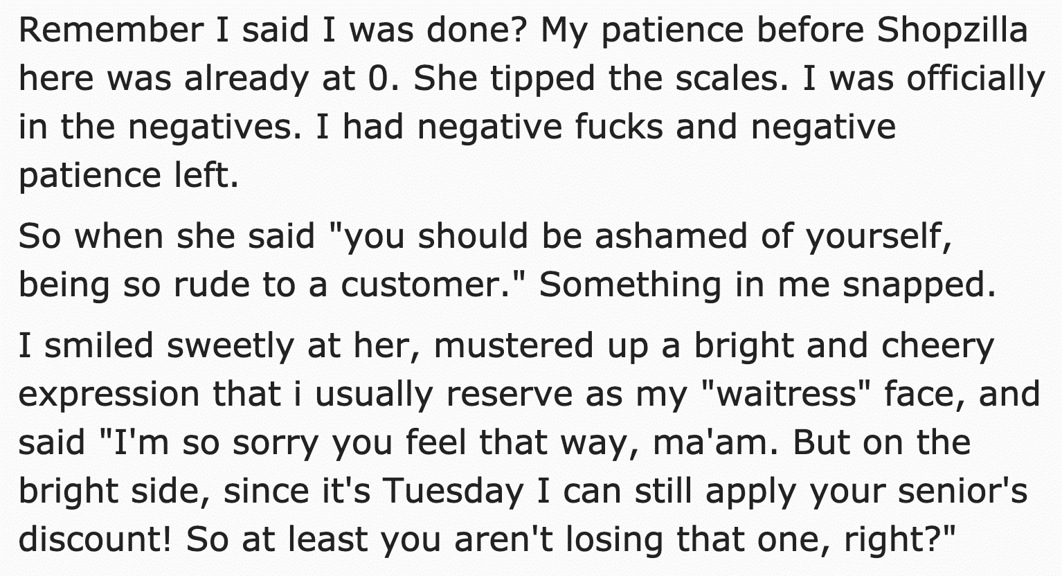 rude customer, retail horror story