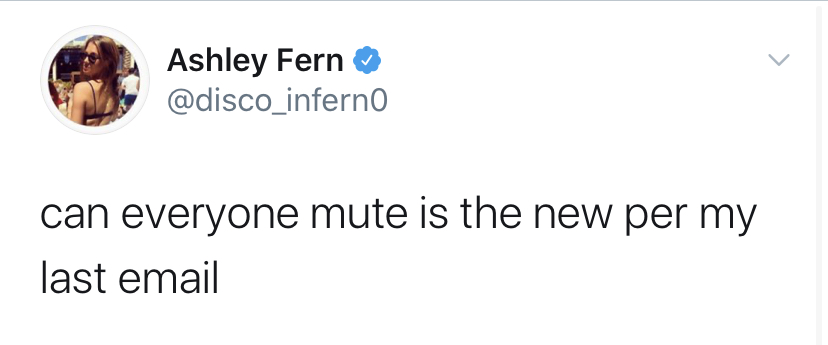 can everyone mute per my last email ashley fern