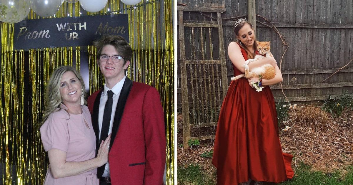 Teens with improvised prom dates