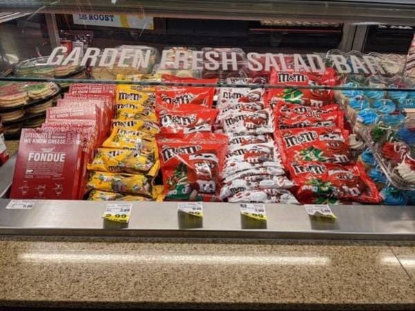 garden fresh salad bar with candy funny picture
