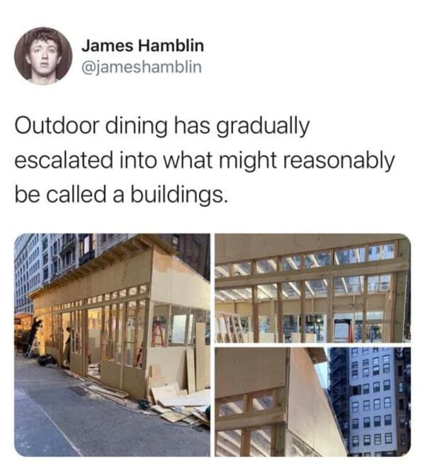 outdoor dining escalated into buildings funny picture