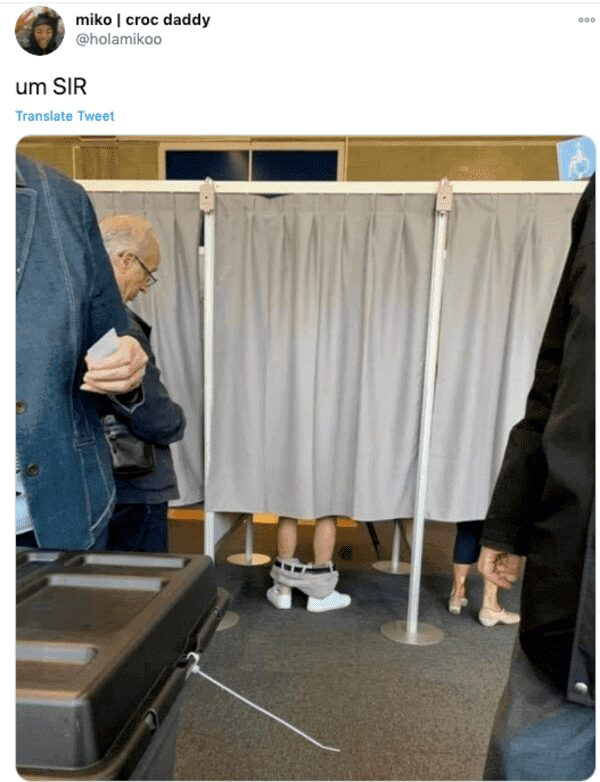 pants down in what looks like voting booth funny picture