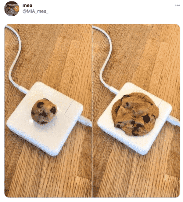 cookie dough cooking on a hot mac adapter funny picture