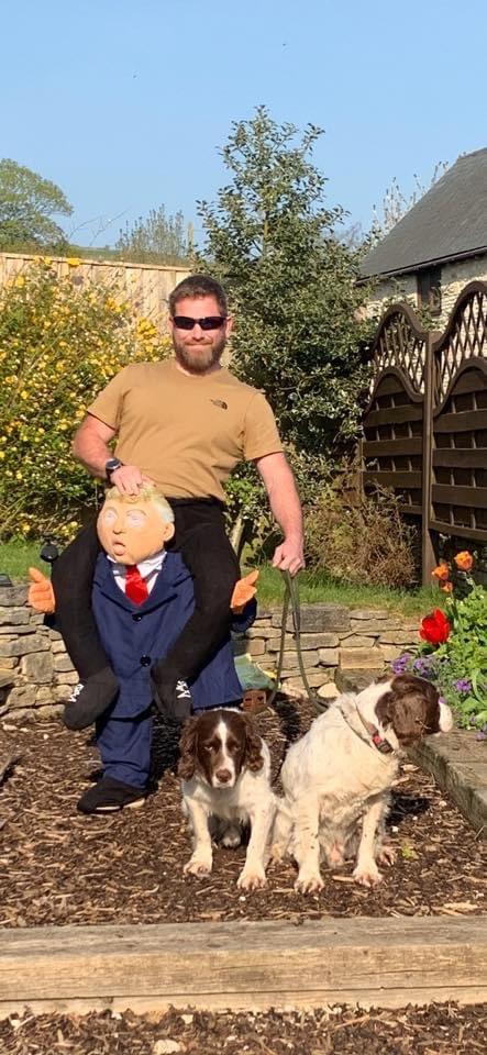 costumes quarantine, guy wears costumes to walk dog