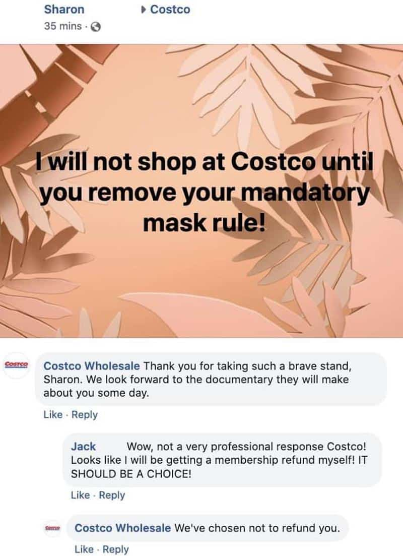 costco mask troll, costco fake customer service, costco mask prank comment