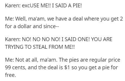 karen pies, karen apple pies, karen 2 for 1 pie, karen 2 for 1, karen 2 for 1 pies, karen charged extra penny, karen apple pie reddit, karen pie reddit, karen apple pies reddit, karen pies reddit