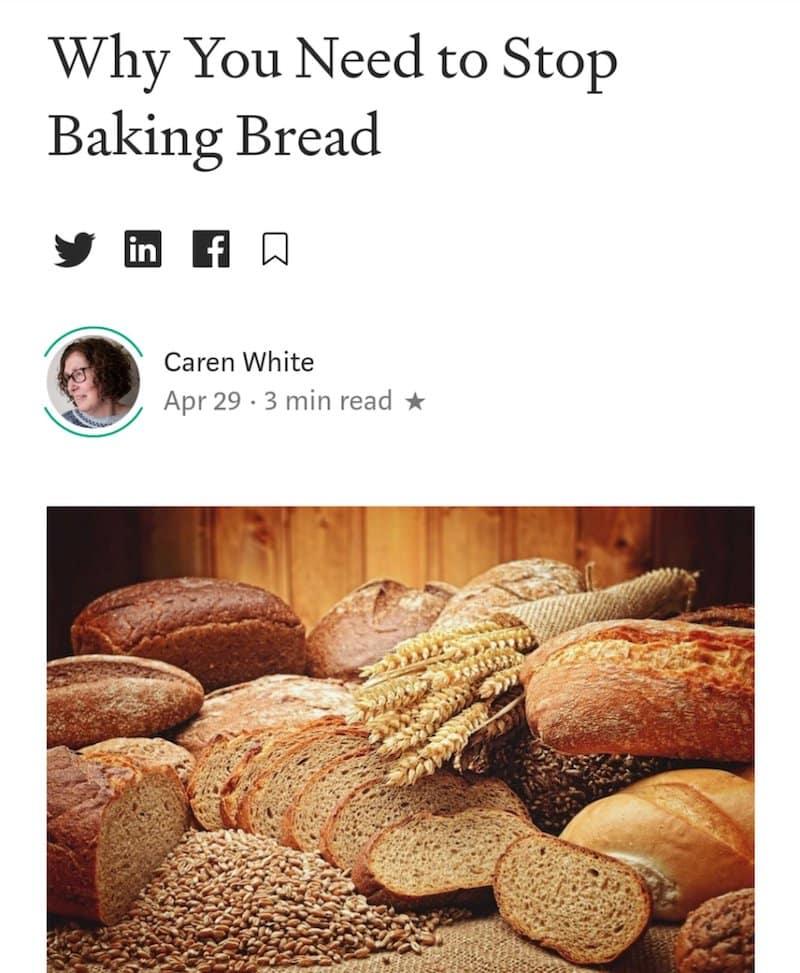 caren white baking bread, caren stop baking bread