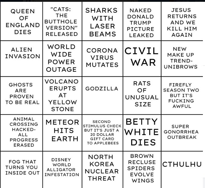 2020 bingo meme, 2020 bingo card meme, 2020 bingo, 2020 bingo card