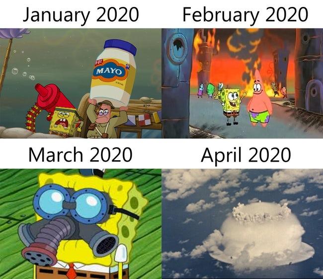 spongebob 2020 meme, 2020 month meme, 2020 months meme, meme about 2020 months, increasing calamity 2020 meme