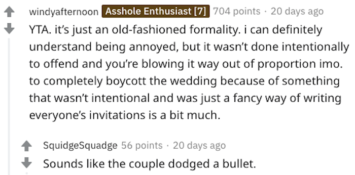 AITA for declining my cousin's wedding invitation due to the sexist wording on the invitation, u/mealtacket, u/mealtacket reddit, aita u/mealtacket, am i the asshole u/mealtacket, woman refuses to go to wedding over invitation, woman refuses to go to wedding over invitation wording, refuses to go to wedding over invitation wording, aita sexist wedding invite, aita sexist wedding invitation, aita not going to wedding because of invitation, aita thinking wedding invitation is sexist, aita thinking wedding invitation sexist, aita thinking wedding invite sexist, aita comment, aita comments