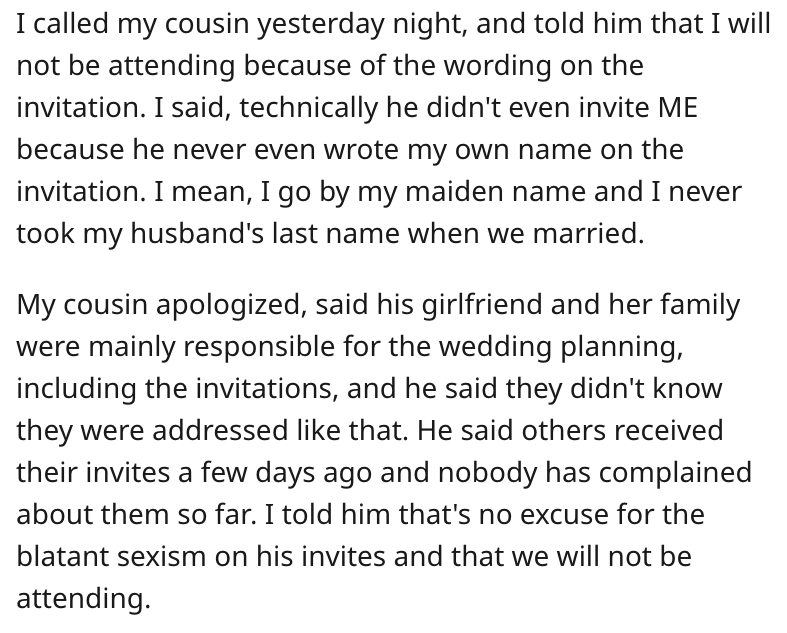 AITA for declining my cousin's wedding invitation due to the sexist wording on the invitation, u/mealtacket, u/mealtacket reddit, aita u/mealtacket, am i the asshole u/mealtacket, woman refuses to go to wedding over invitation, woman refuses to go to wedding over invitation wording, refuses to go to wedding over invitation wording, aita sexist wedding invite, aita sexist wedding invitation, aita not going to wedding because of invitation, aita thinking wedding invitation is sexist, aita thinking wedding invitation sexist, aita thinking wedding invite sexist