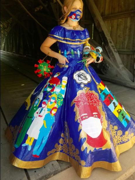 Peyton Manker prom dress, Peyton Manker dress, Peyton Manker duct tape, Peyton Manker duct tape dress, coronavirus prom dress, coronavirus prom dress Peyton Manker, covid prom dress, quarantine prom dress, duct tape prom dress, duct tape dress, coronavirus prom, covid prom