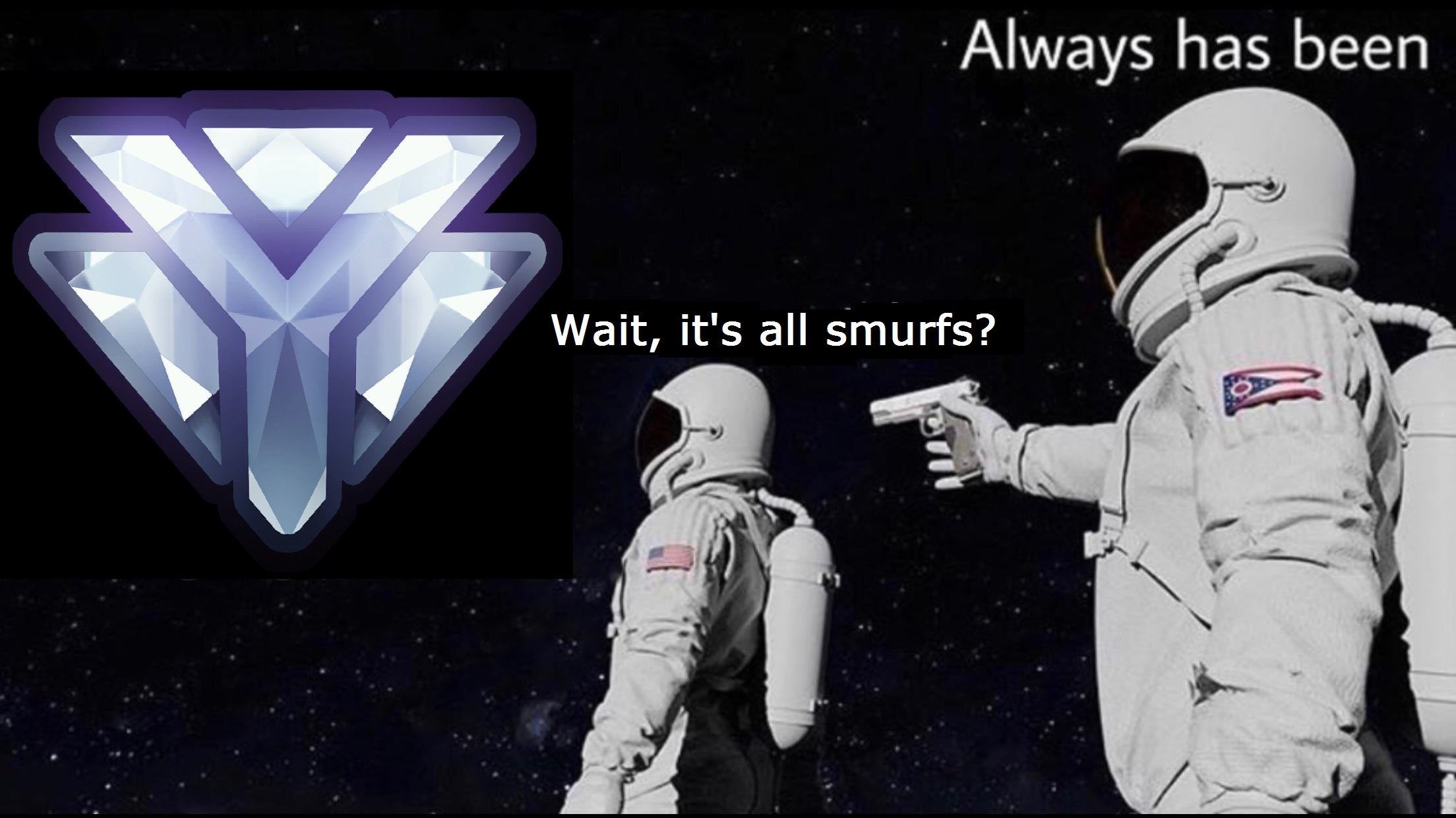 its all smurfs meme, its all smurfs astronaut meme, its all smurfs astronaut gun meme