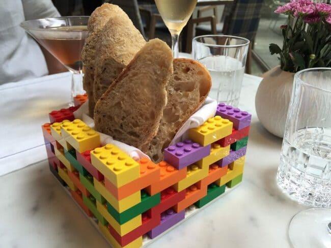 lego bread basket, bread served in lego basket, bread basket legos