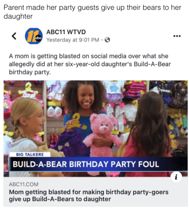 bad parent, bad parenting meme, bad parenting, poor parenting, poor parenting meme, bad parents meme, bad parents picture, bad parents, bad parent meme, bad parent shaming, bad parents shaming, shaming bad parents, shaming crappy parents, crappy parents, crappy parent, crappy parenting, crappy parenting meme, shaming bad parent, parent made her party guests give up their bears to her daughter