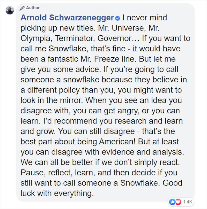 Arnold Schwarzenegger troll, Arnold Schwarzenegger snowflake