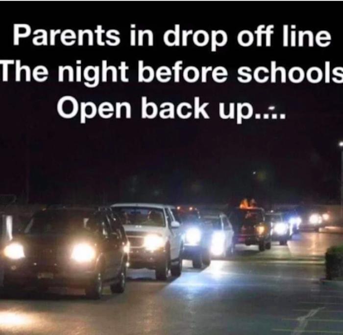 parents in drop off line the night before schools open meme