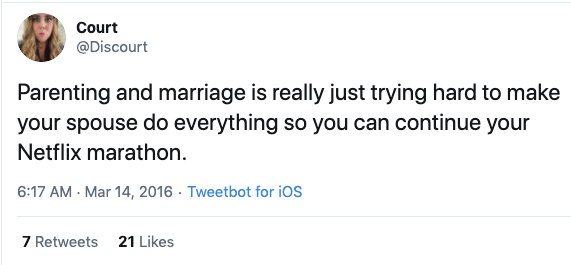 funny netflix marathon parent tweet