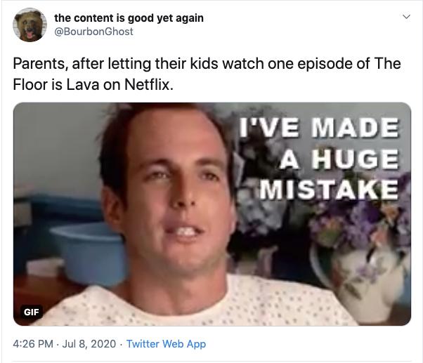 funny the floor is lava netflix parenting tweet