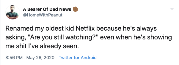are you still watching funny netflix parent tweet, funny netflix tweet, funny netflix tweets, netflix parent tweet, netflix parent tweets, netflix parent funny, funny netflix parent, funny netflix parenting, funny parents tweets netlfix, funny parent tweet netflix, funny netflix parent tweet