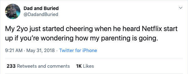 2 year old cheered for netflix funny parenting tweet, funny netflix tweet, funny netflix tweets, netflix parent tweet, netflix parent tweets, netflix parent funny, funny netflix parent, funny netflix parenting, funny parents tweets netlfix, funny parent tweet netflix, funny netflix parent tweet