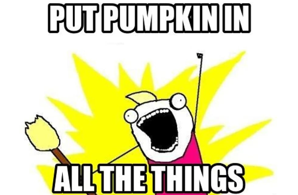 put pumpkin spice in all the things meme, pumpkin spice in all the things meme, put it in all the things pumpkin spice meme, funny put it in all the things pumpkin spice meme