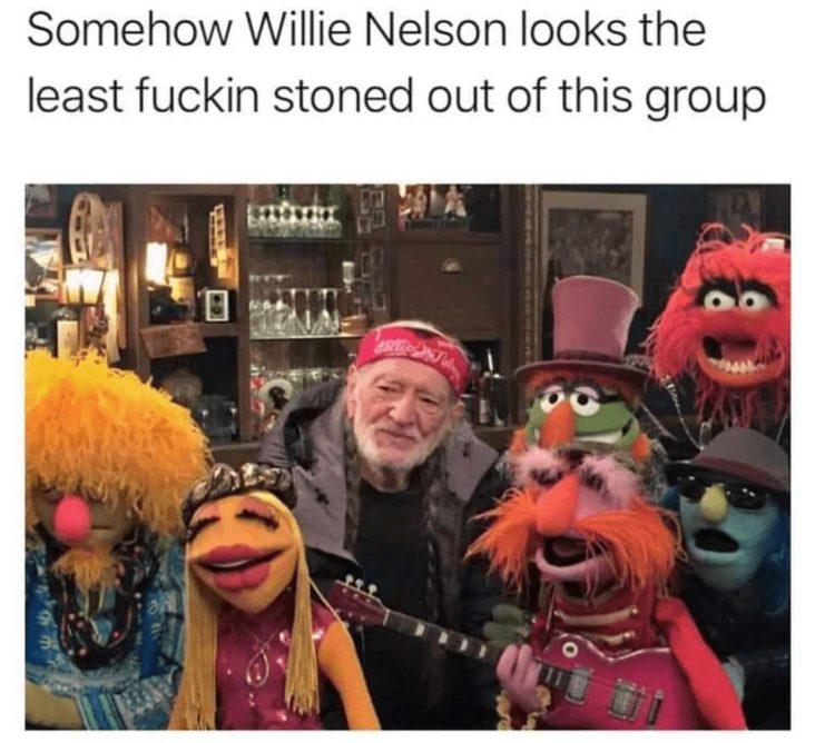 willie nelson muppets stoner meme, muppets stoner meme, willie nelson not as high as the muppets stoner meme