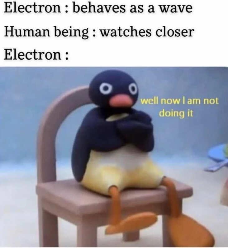 electron science meme, quantum physics science meme, funny quantum science meme, wave particle duality science meme