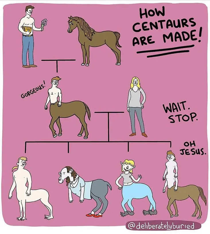 funny centaur science meme, centaur genetics science meme, funny centaur comic science meme