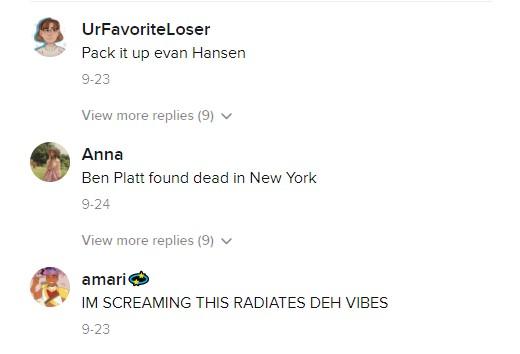 screenshot of tiktok comments