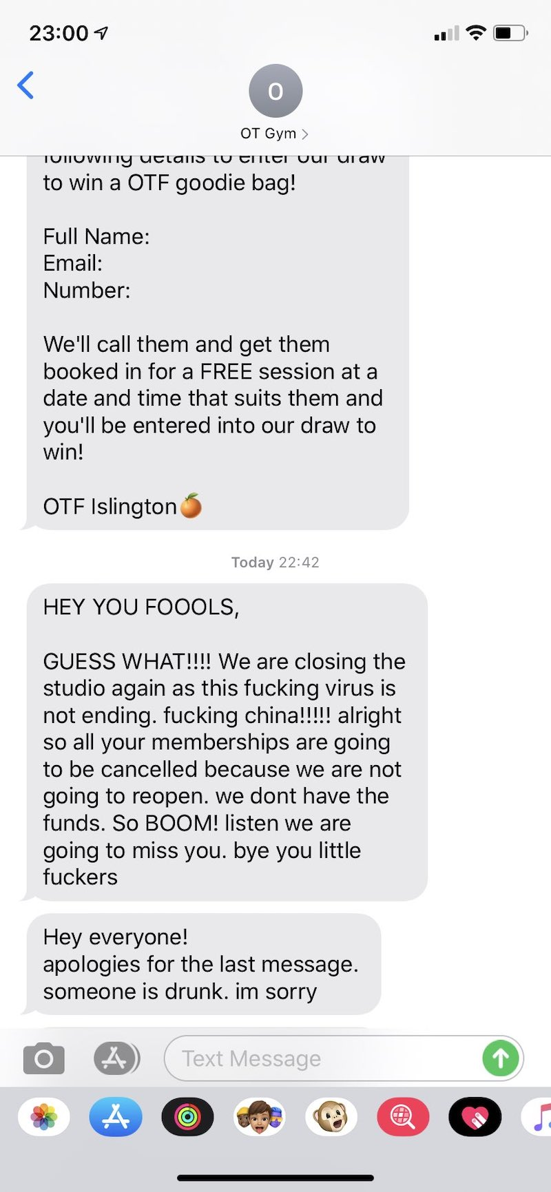 Someone at Orangetheory Gym Drunk Texted All The Members 2